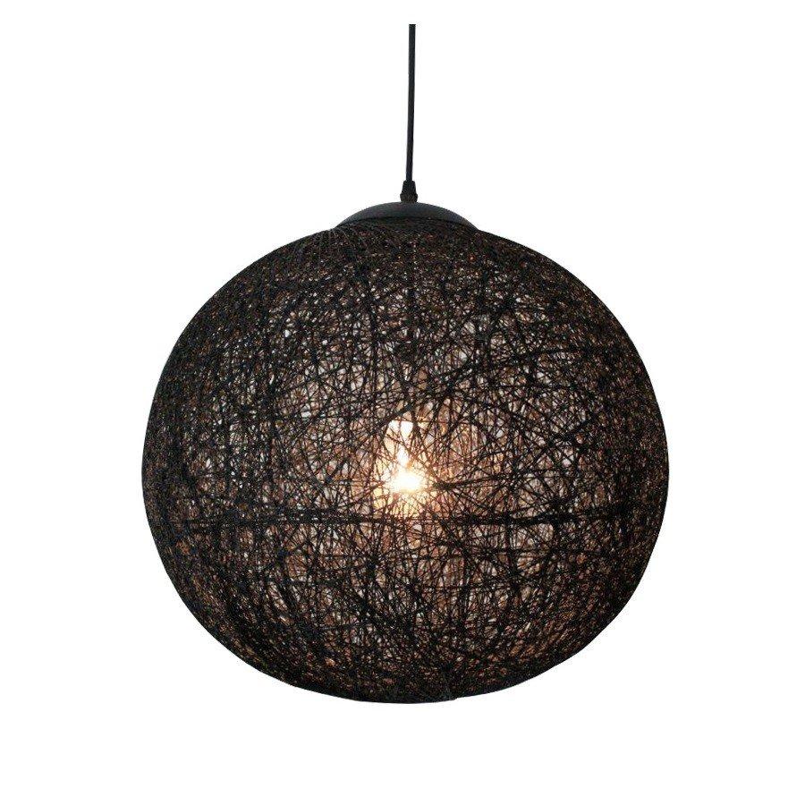 Lampa suspendata ABACA , abajur sferic din lemn, maro inchis