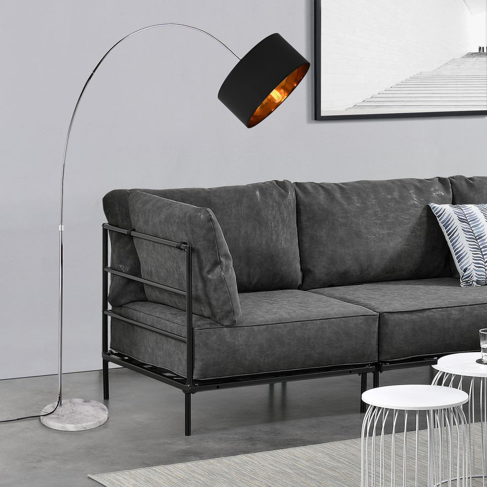 Lampadar arcuit, 230 cm, 1 x E27, maxim 60W, tesatura/metal, galben aramiu/gri inchis, abajur din tesatura