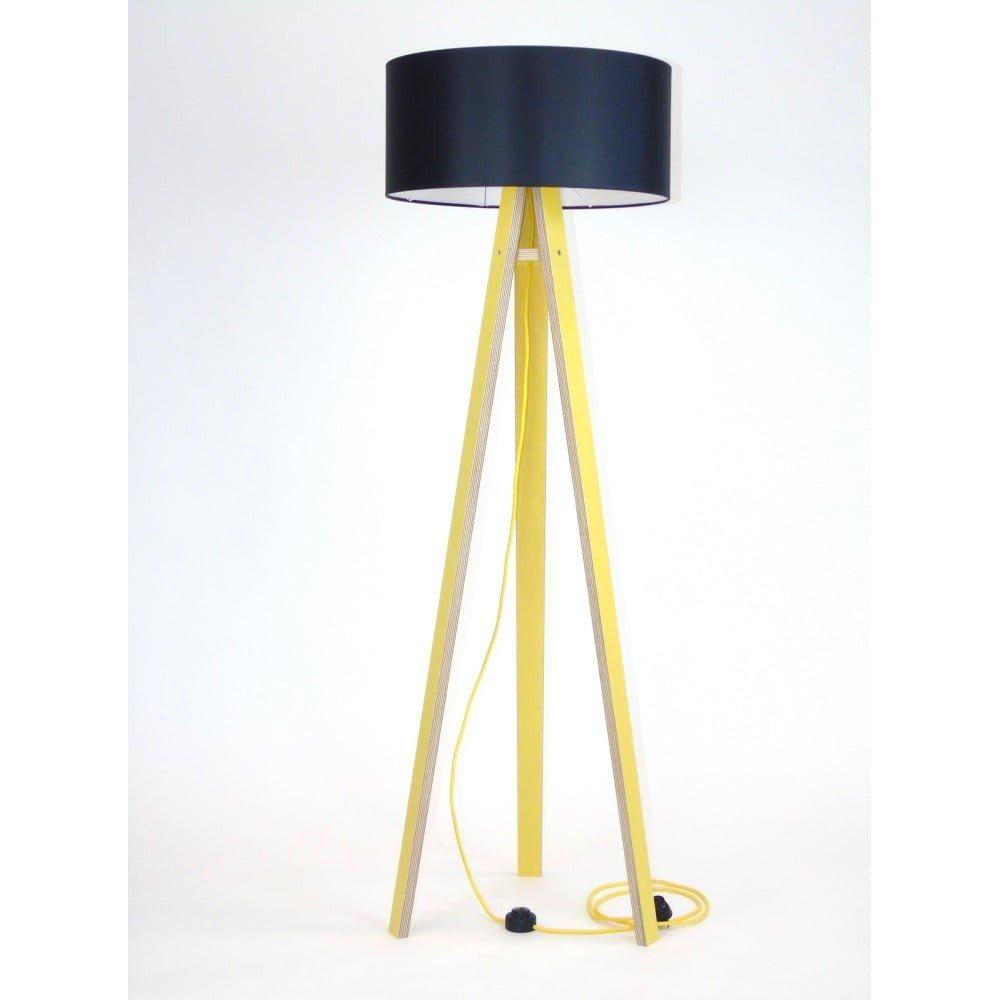Lampadar cu abajur negru și cablu galben Ragaba Wanda, galben