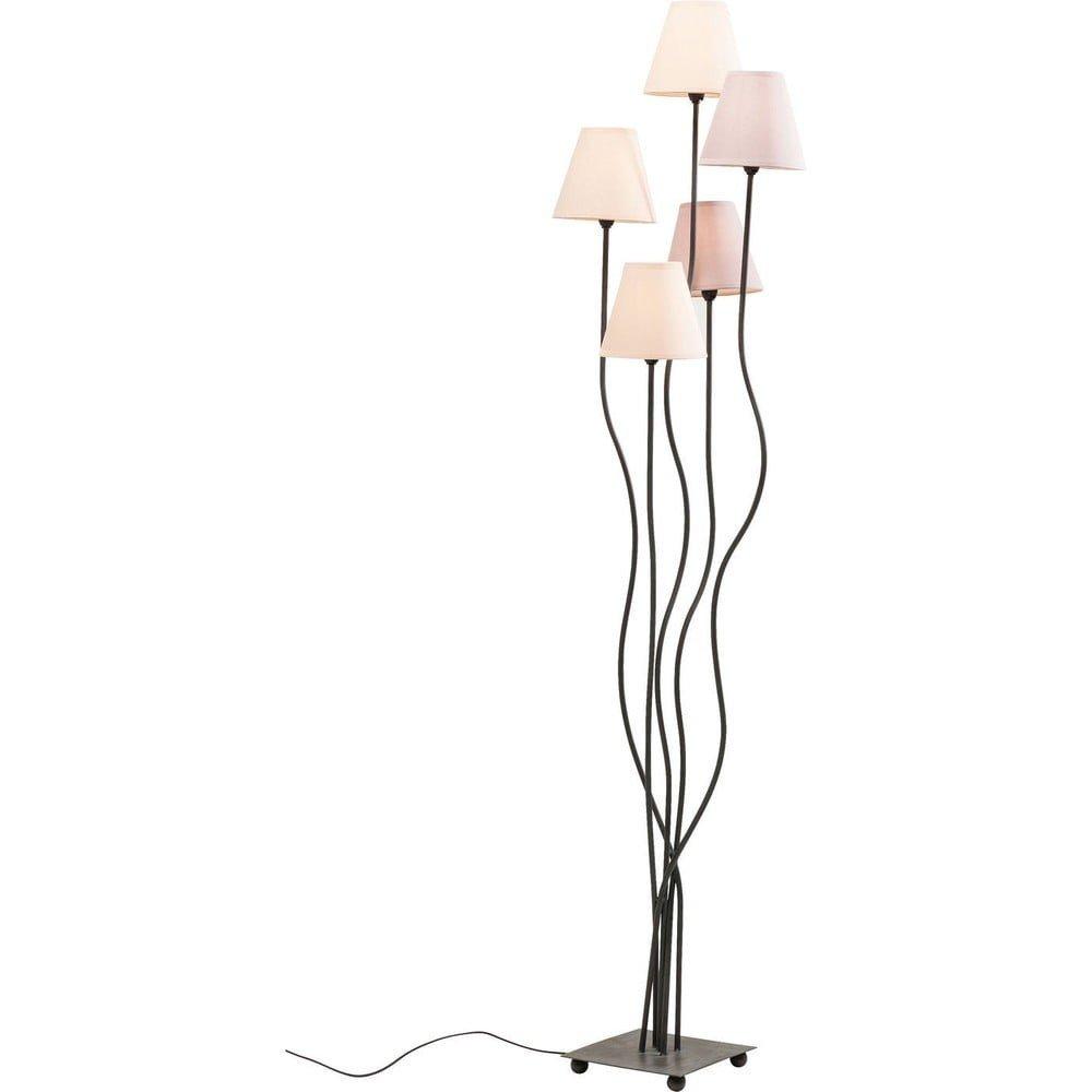 Lampadar cu mai multe brate Kare Design Cinque, design organic, abajururi textile