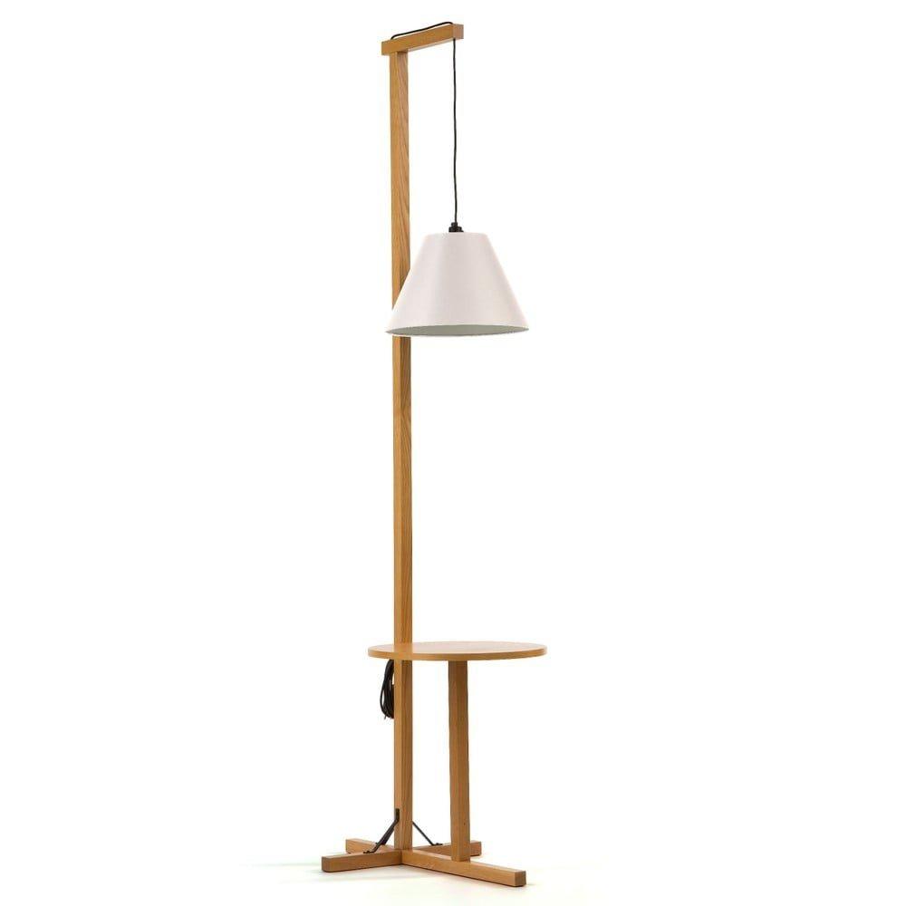 Lampadar cu structură din lemn de stejar Woodman Floor, alb