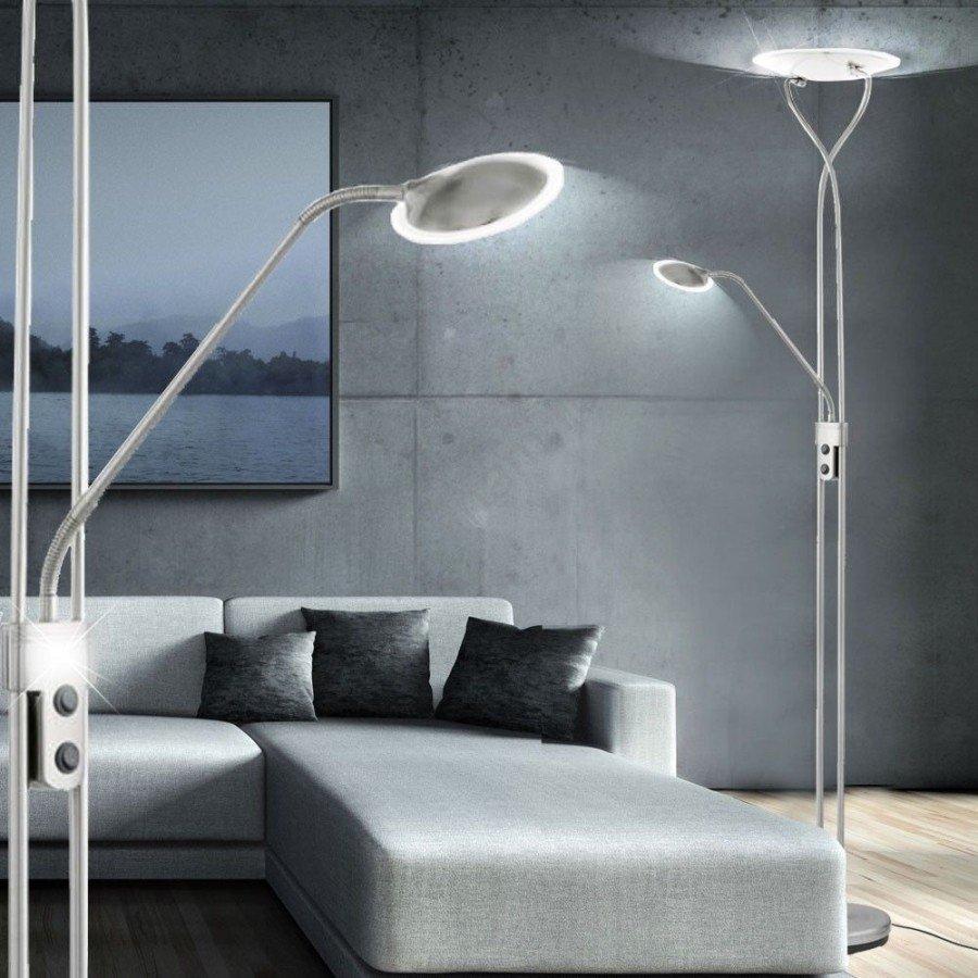 Lampadar LED PENJA , Eglo, metalic, crom mat, cu bec LED, stil modern