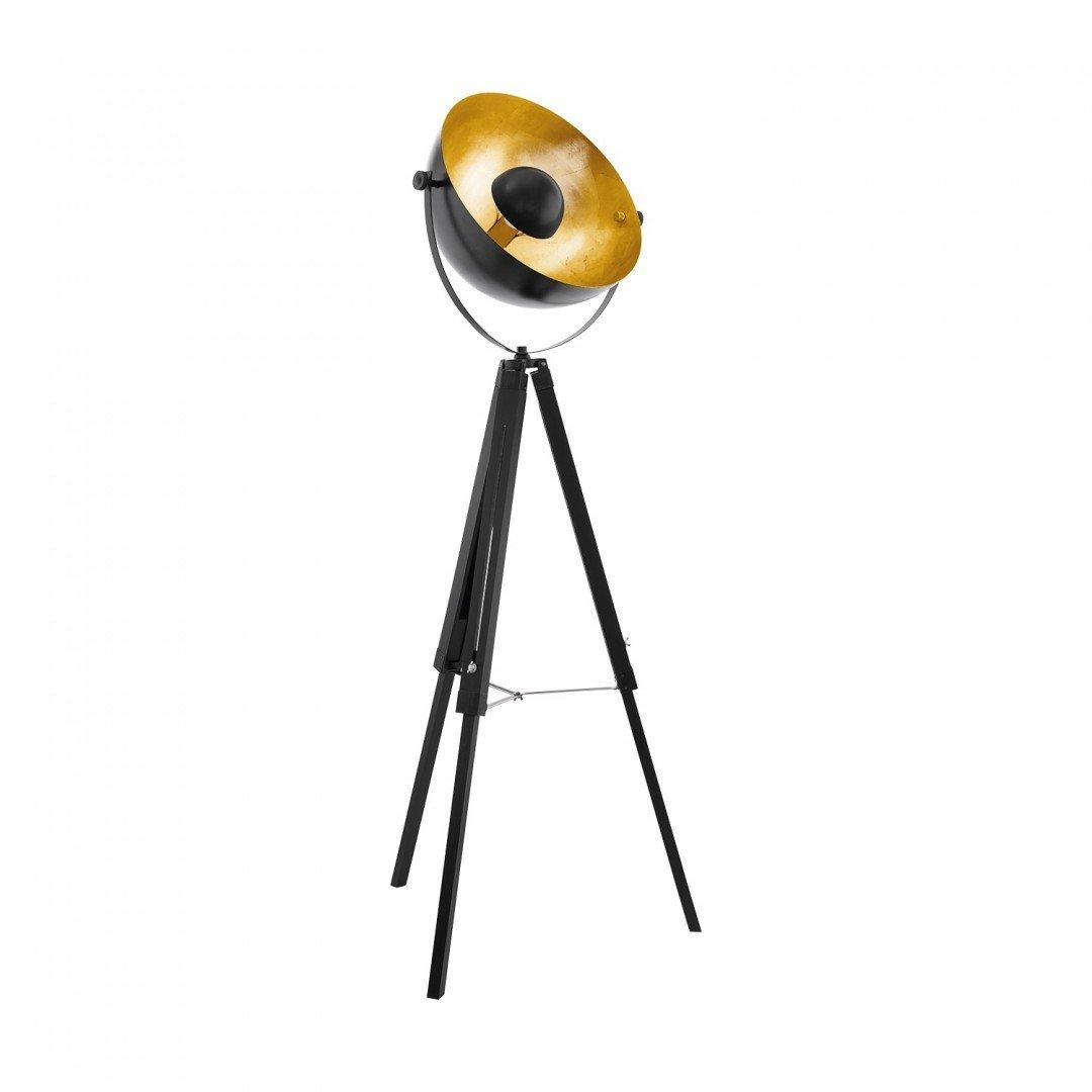 Lampadar vintage 1 bec E27 COVALEDA , EGLO, lemn+metal, negru-auriu
