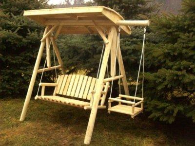 Leagan confort cu suport acoperit si pui, din lemn