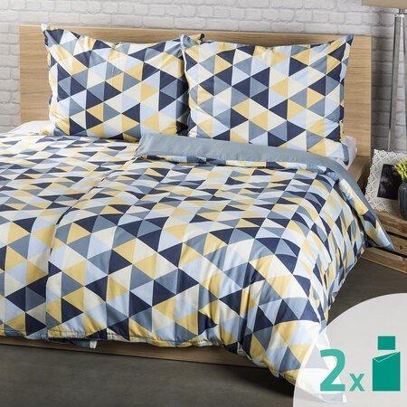 Lenjerie 4Home Trianglu albastru, 2 x 140 x 200 cm, 70 x 90 cm, galben-gri, imprime geometric