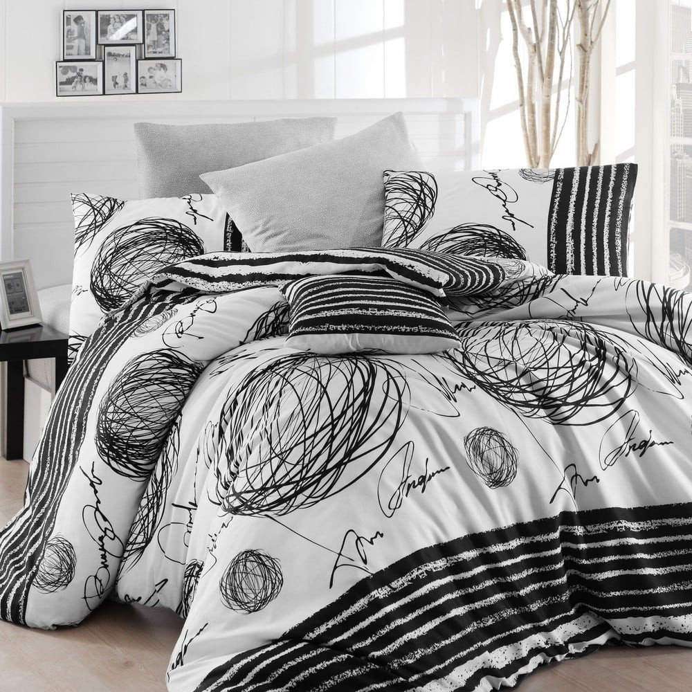 Lenjerie de pat cu cearșaf Blacky, 200 x 220 cm, alb-negru, model grafic