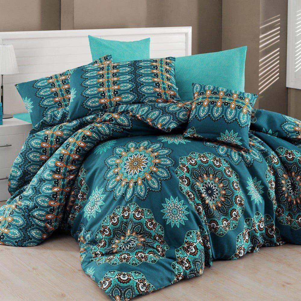 Lenjerie de pat cu cearșaf Hula, 160 x 220 cm, turcoaz, model mandala
