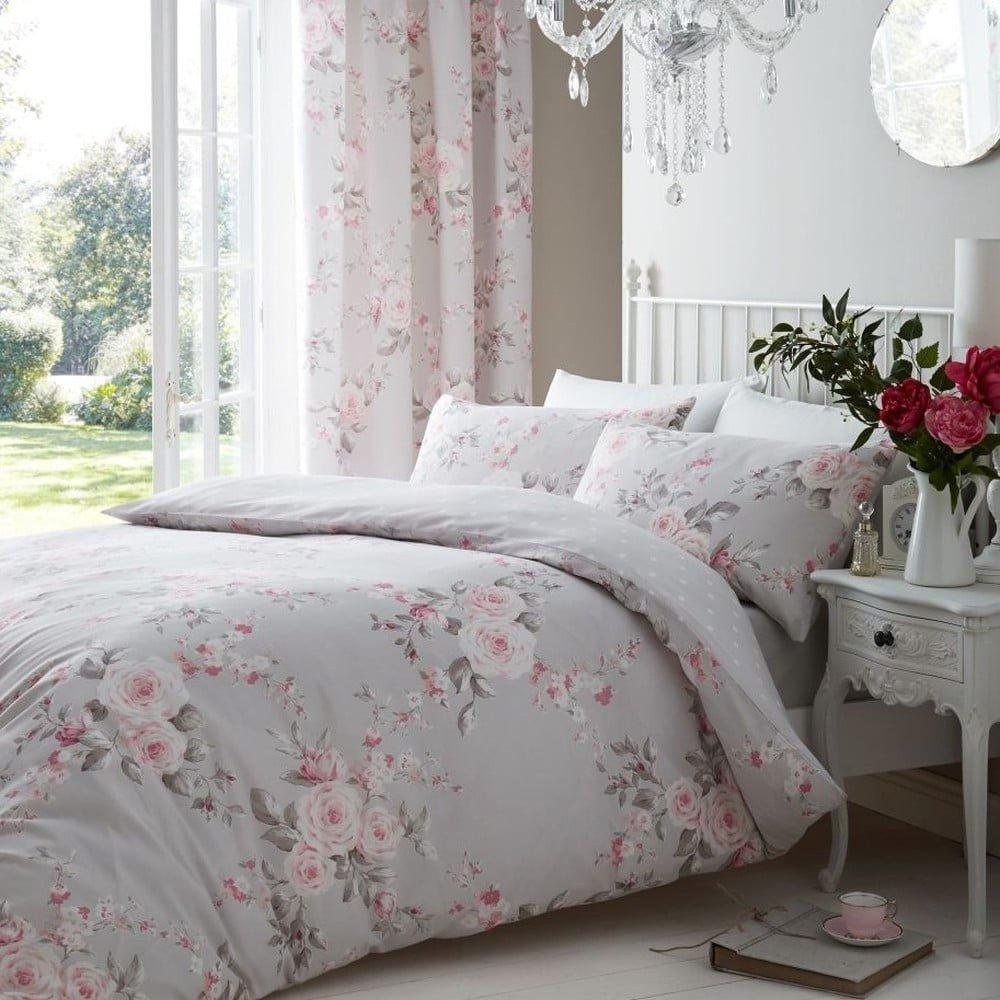 Lenjerie de pat cu model floral  Catherine Lansfield Canterbury Rose, 200 x 200 cm
