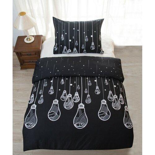 Lenjerie de pat Dallas Bulb, 140 x 200 cm, 70 x 90 cm, negru cu alb