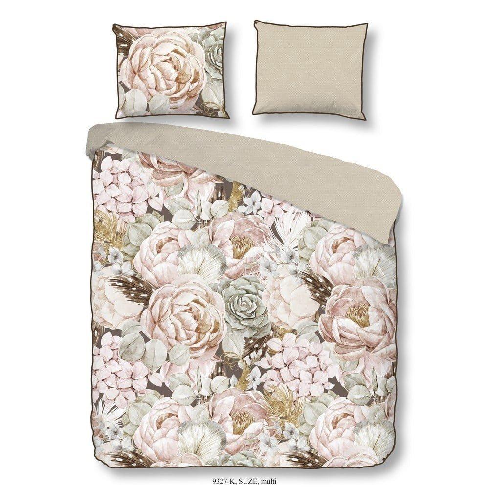 Lenjerie de pat din bumbac Descanso Suze, 135 x 200 cm, bej/imprimeu floral
