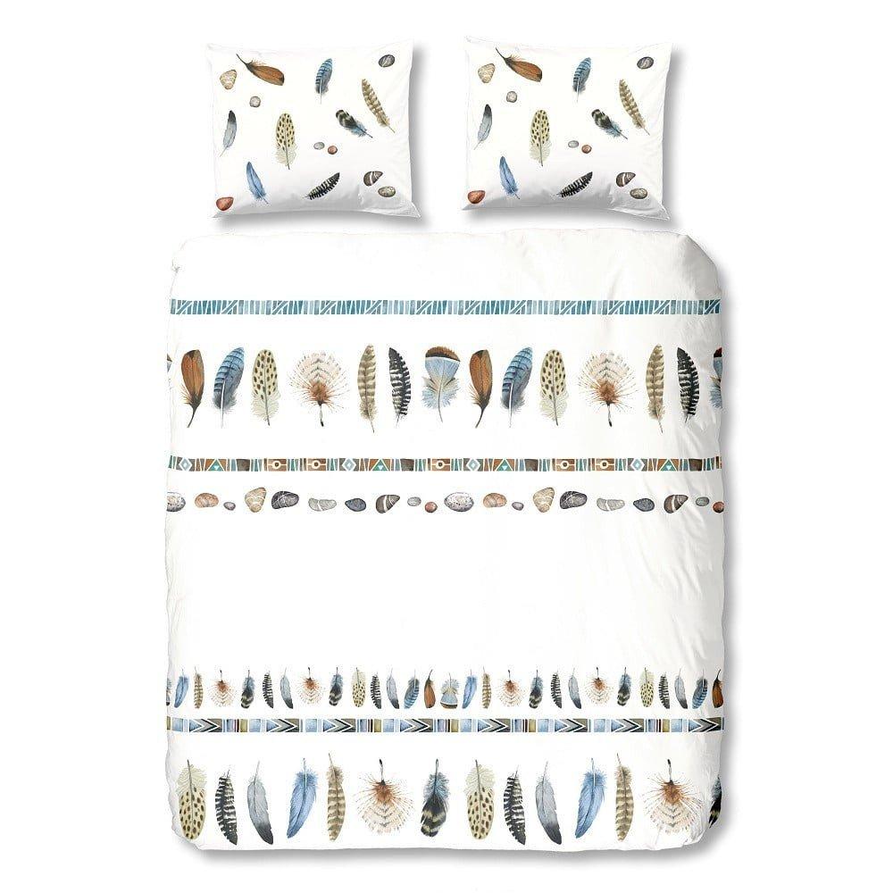 Lenjerie de pat din bumbac Good Morning Boho, 140 x 200 cm, alba cu  imprimeu pene multicolore