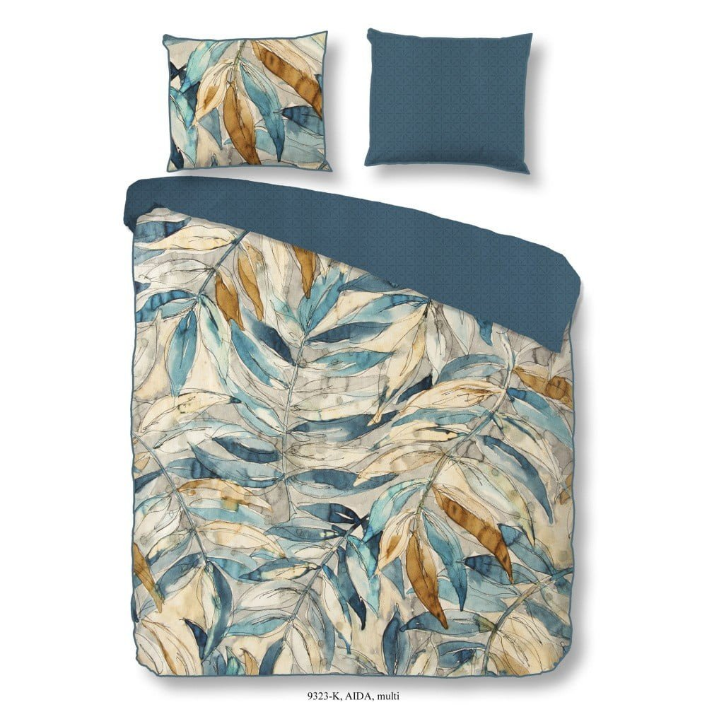 Lenjerie de pat din bumbac Muller Textiels Descanso Aida, 200 x 200 cm,, albastru/aramiu, imprimeu vegetal stil acuarela