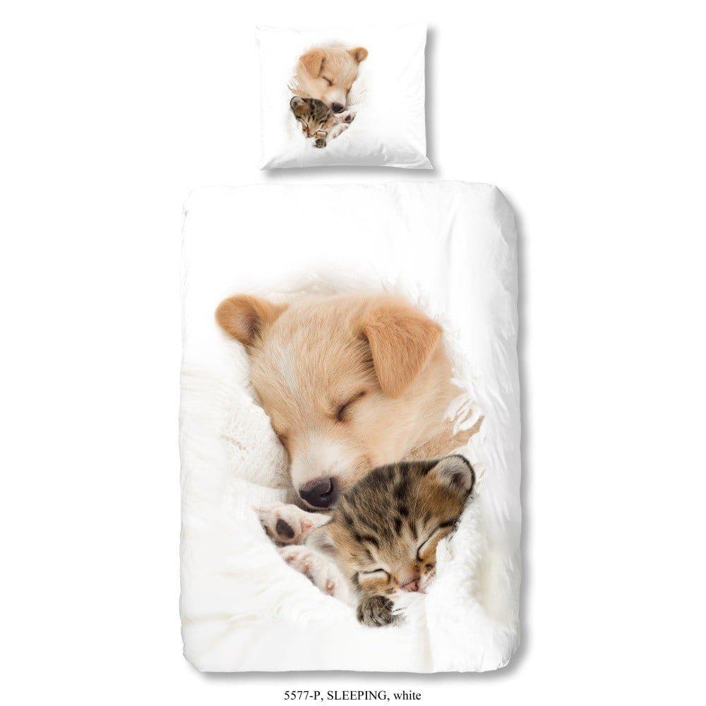 Lenjerie de pat din bumbac pentru copii Good Morning, 140 x 200 cm, imrpimeu catel si pisica