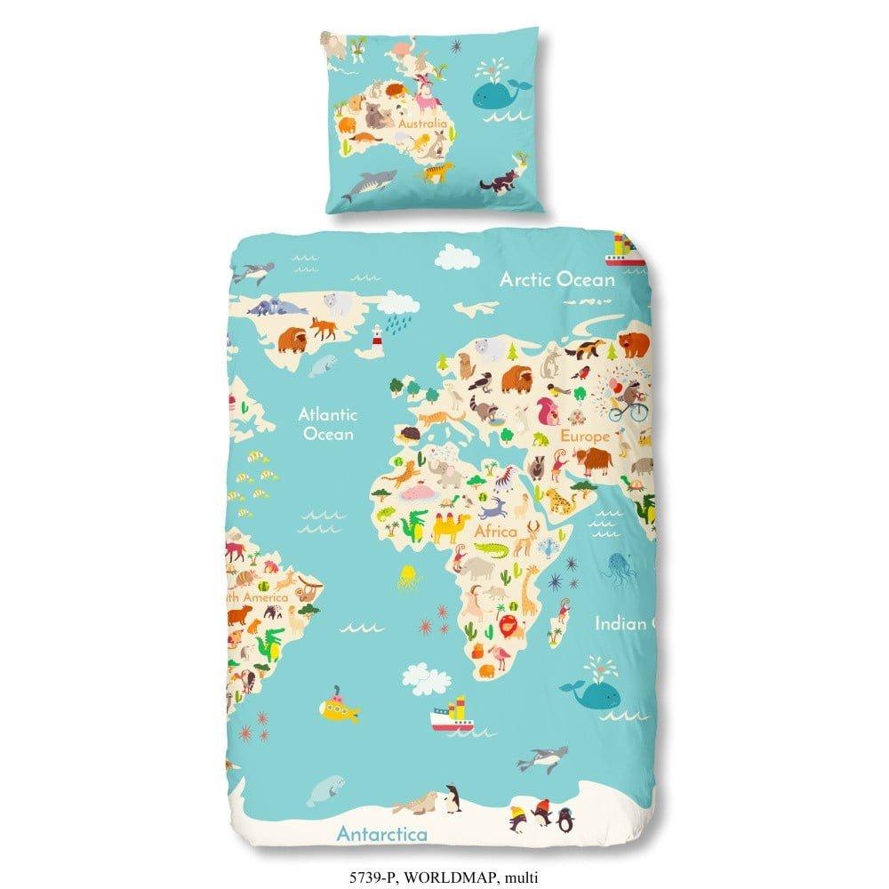 Lenjerie de pat din bumbac pentru copii turcoaz cu harta lumii, 140 x 200 cm