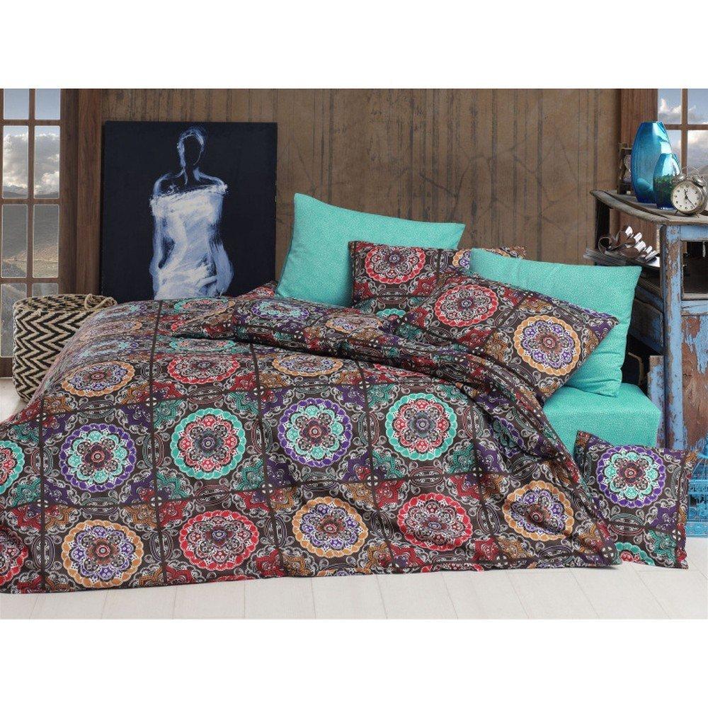 Lenjerie de pat din bumbac ranforce Kilroy, 140 x 200 cm, imprrimeu mandala, multicolor