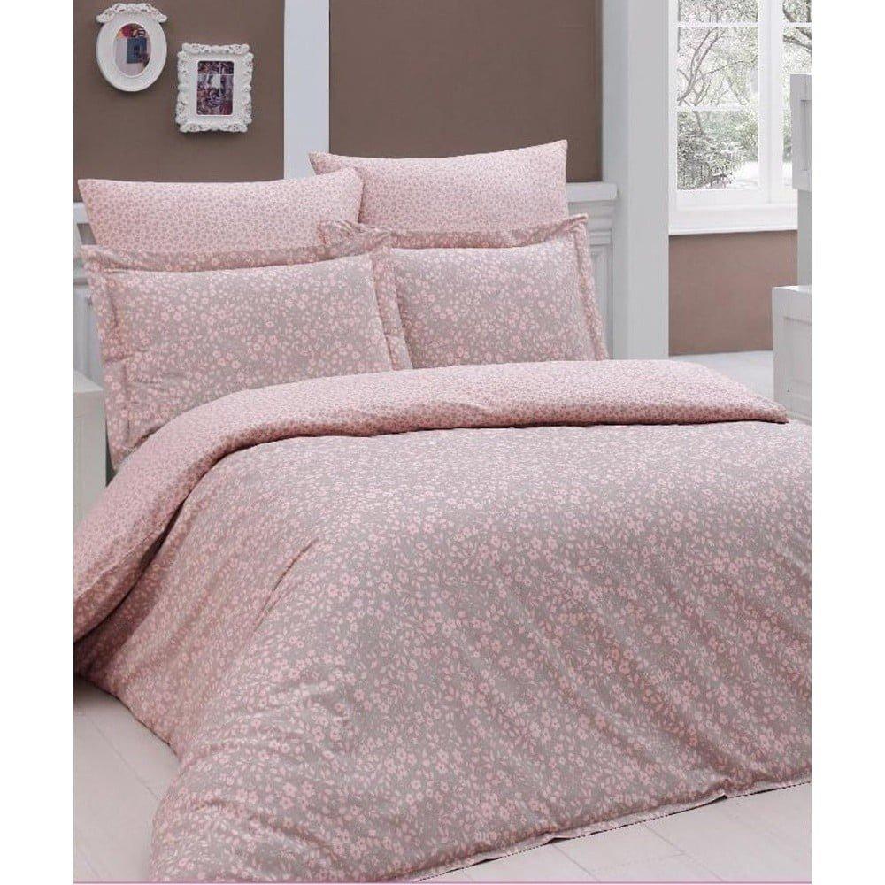 Lenjerie de pat din bumbac ranforce și cearșaf Elenora, 200 x 220 cm, roz