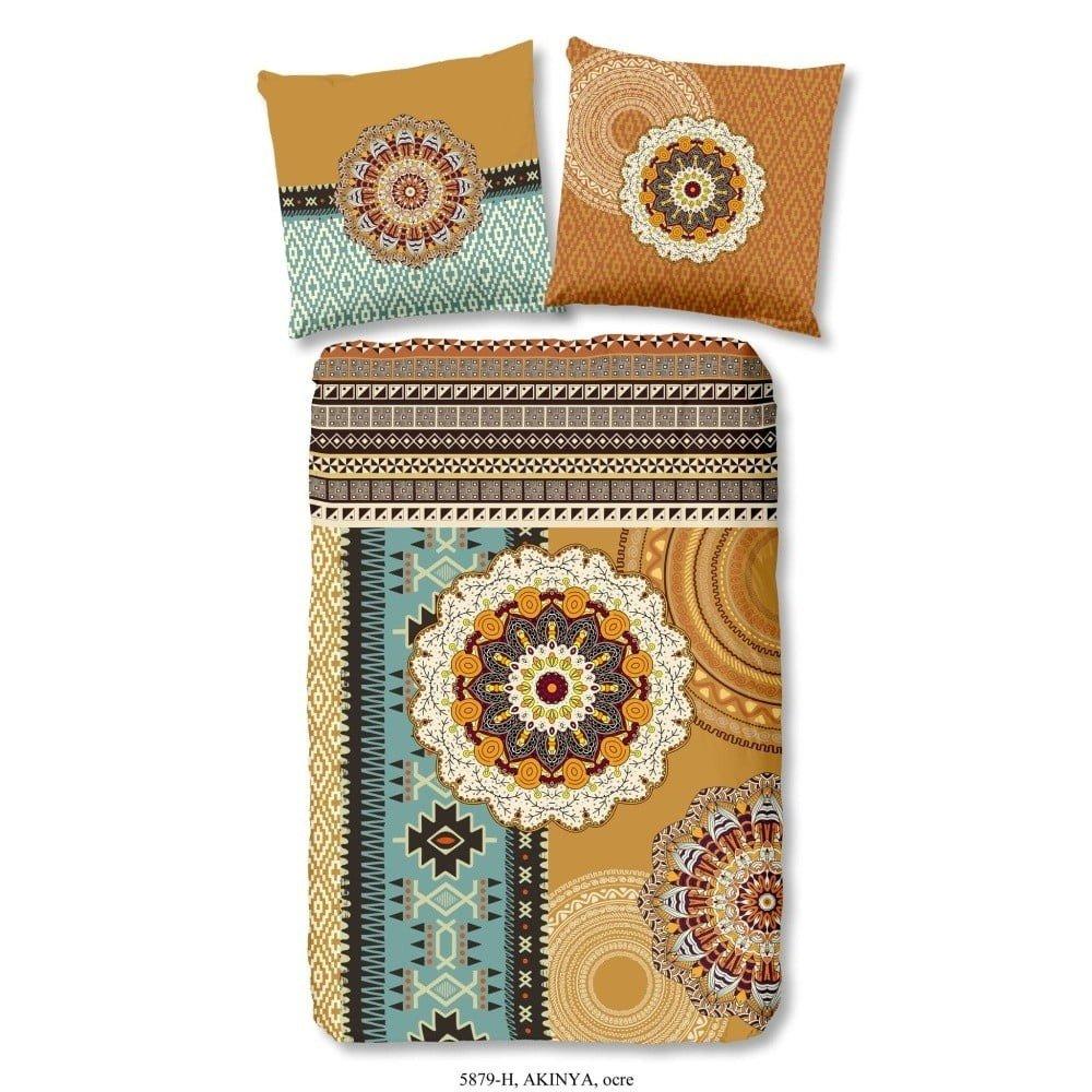 Lenjerie de pat din bumbac satinat HIP Akinye, 140 x 200 cm, imprimeuri orientale, maro/turcoaz
