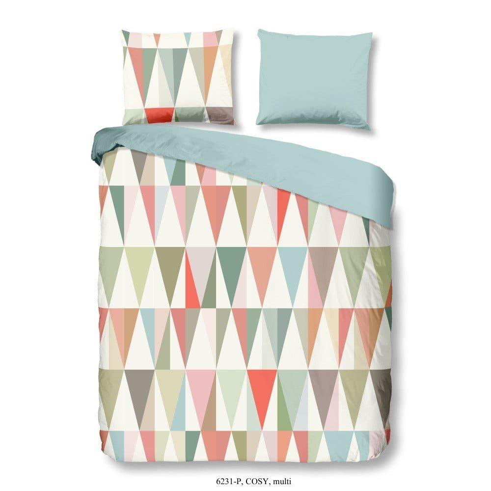 Lenjerie de pat din bumbac satinat Muller Textiels Geo Triangles, 200 x 200 cm