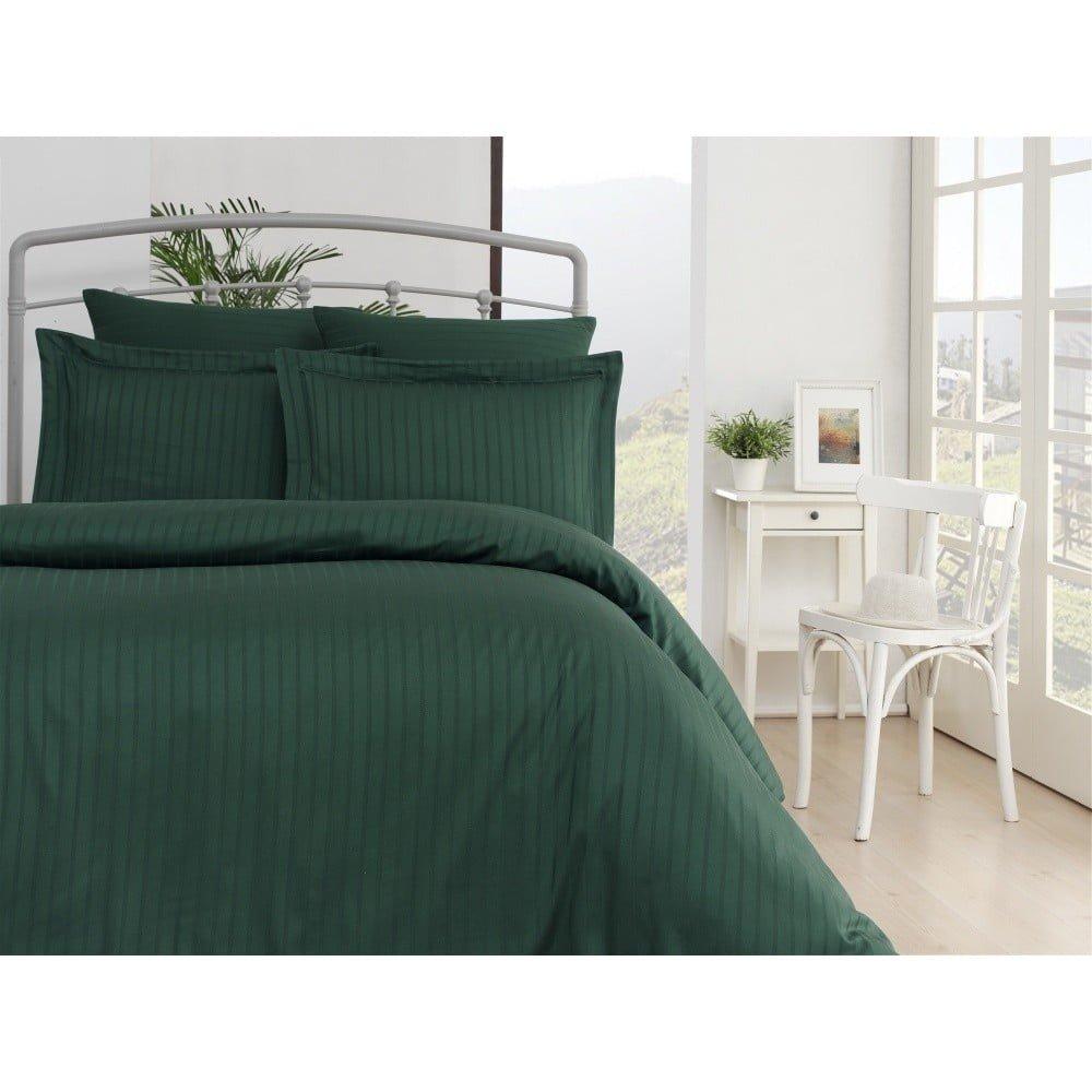 Lenjerie de pat din bumbac satinat și cearșaf Exclusive Line, 200 x 220 cm, verde închis