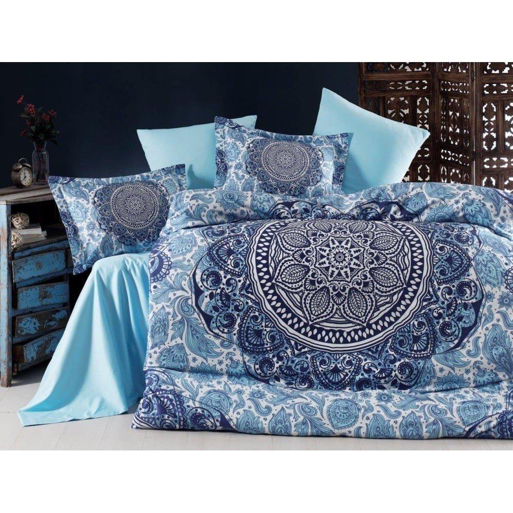 Lenjerie de pat din bumbac satinat și cearșaf Marcelo, 200 x 220 cm, albastru, imprimeu mandala