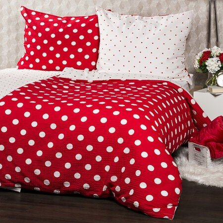 Lenjerie de pat din crep 4Home Bulină roşie, 140 x 220 cm, 70 x 90 cm, pat single