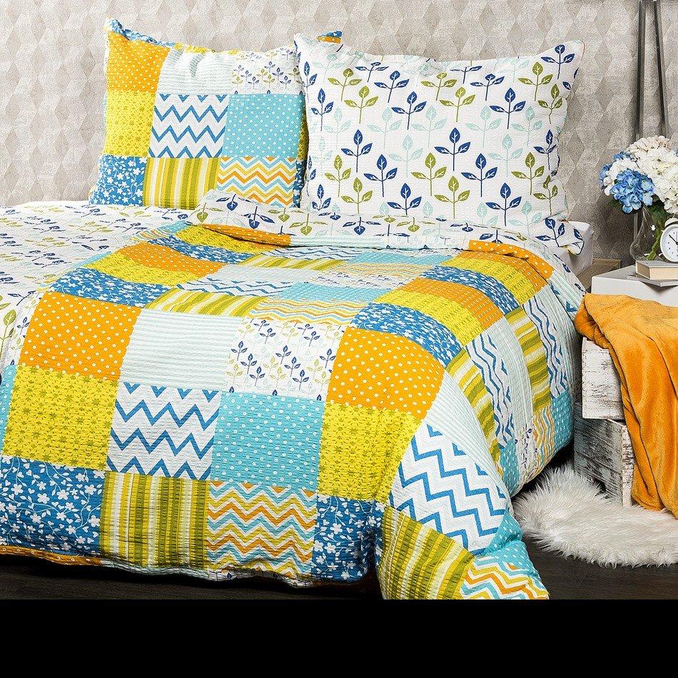Lenjerie de pat din crep 4Home Patchwork blue, cu imprimeu albastru si galben