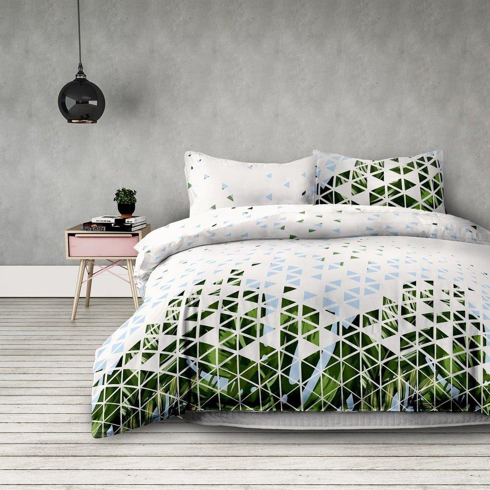 Lenjerie de pat din microfibră AmeliaHome Explosion, 200 x 200 cm + 63 x 63 cm, imprimeu geometric, alb-verde-albastru