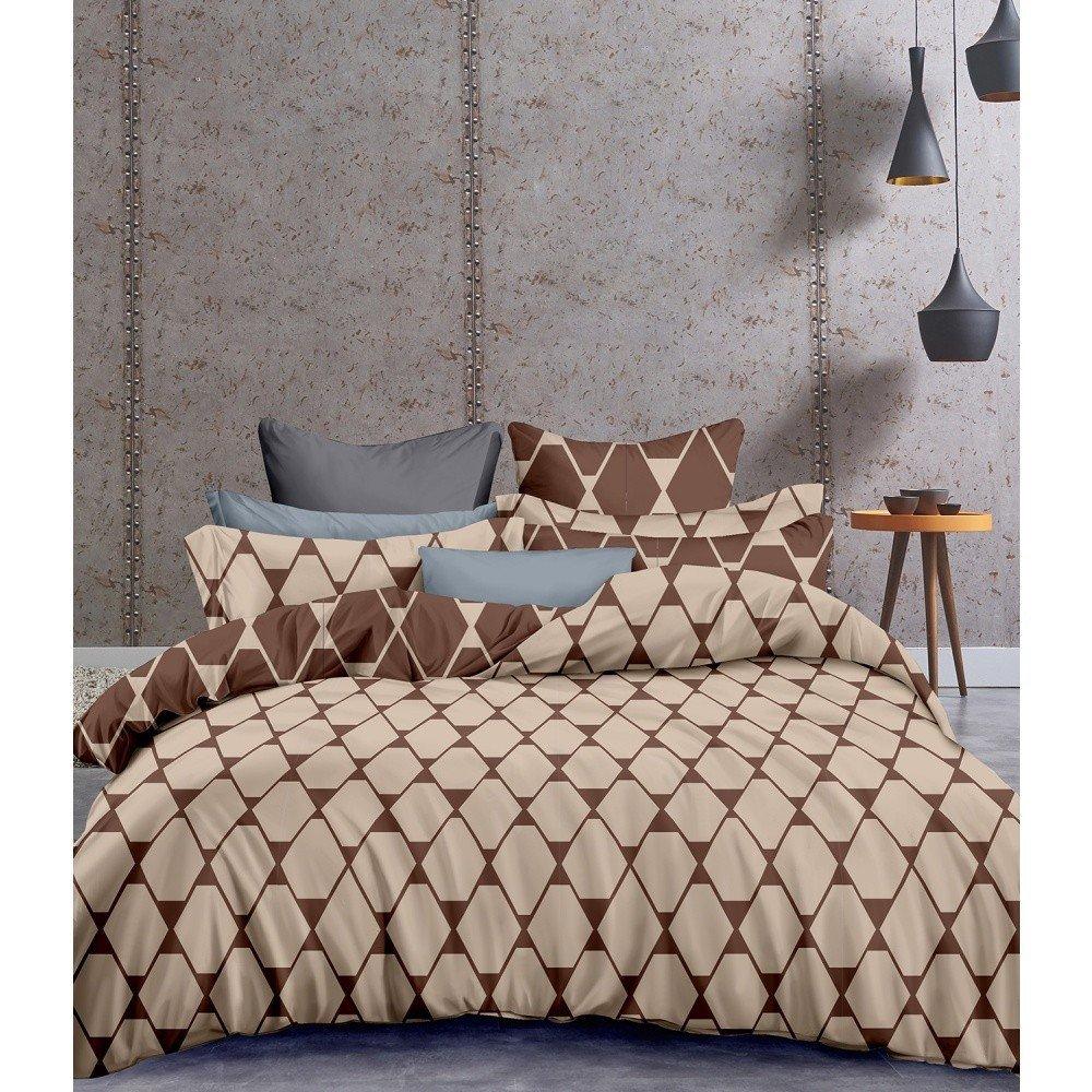 Lenjerie de pat din microfibră DecoKing Structure, 135 x 200 cm, maro cu imprimeu geometric