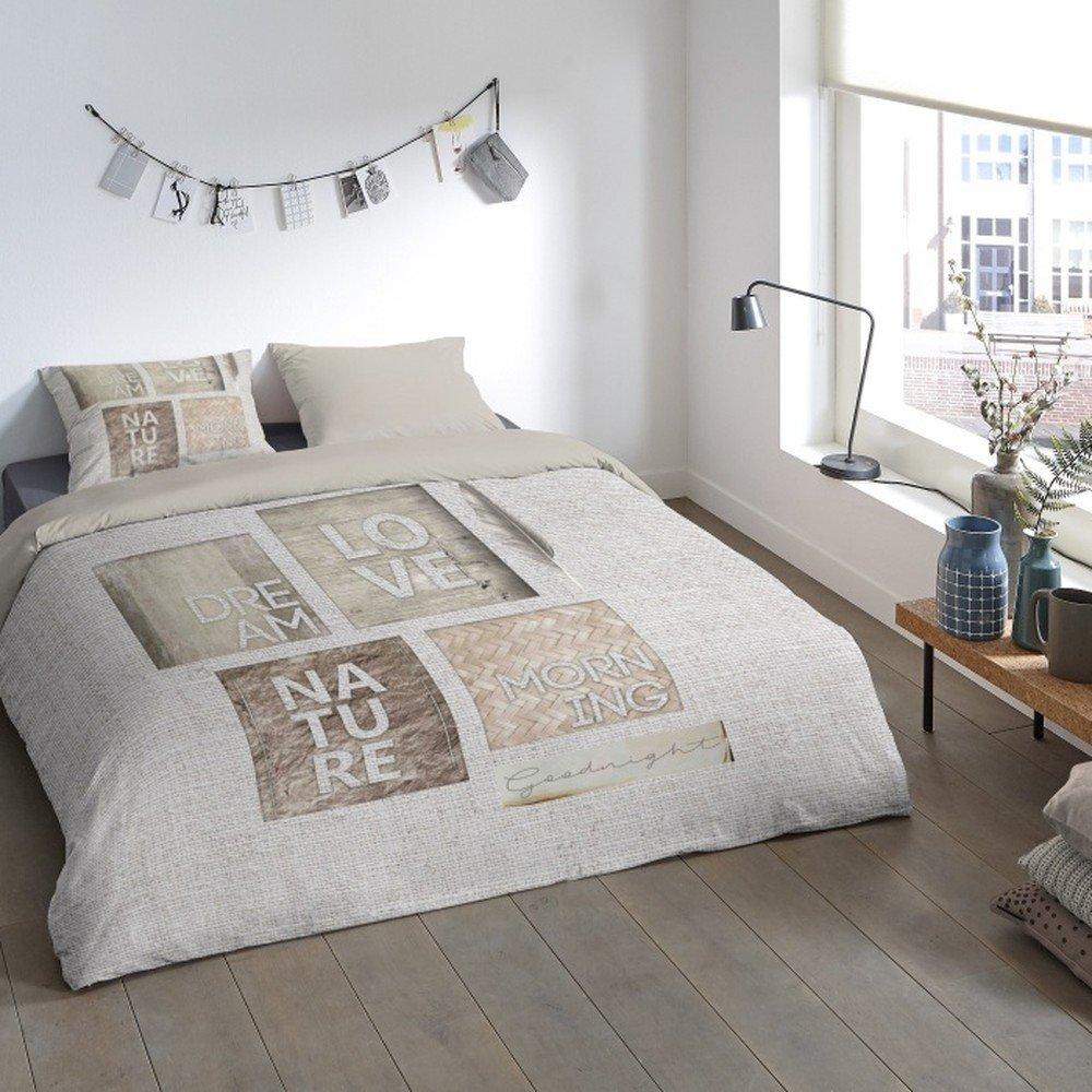Lenjerie de pat din micropercal Muller Textiels Mina, 200 x 200 cm, bej