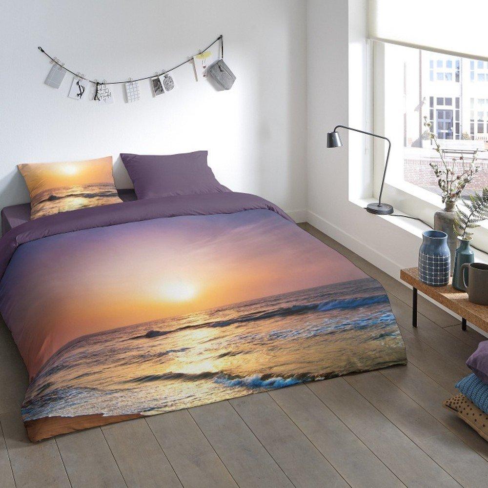 Lenjerie de pat din micropercal Muller Textiels Rassano Sunset Over The Ocean, 140 x 200 cm, imprimeu apus
