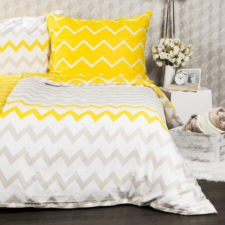 Lenjerie de pat din satin 4Home Zigzag, 140 x 200 cm, 70 x 90 cm, galben cu alb