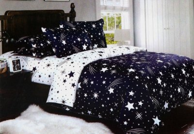 Lenjerie de pat dublu 4 piese ELVO, alb-negru cu imprimeu cu stele, 50% bumbac si 50% poliester