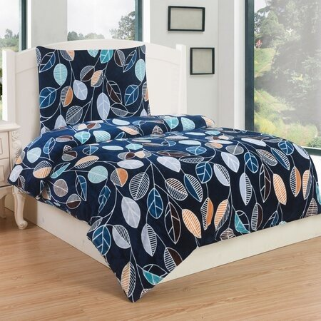 Lenjerie de pat micro-pluş Spring, 140 x 200 cm, 70 x 90 cm, albastru cu imprimeu frunze