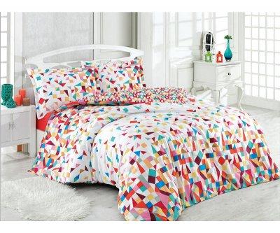 Lenjerie de pat o persoana, bumbac 100% Ranforce Festival, alba cu imprimeu geometric multicolor
