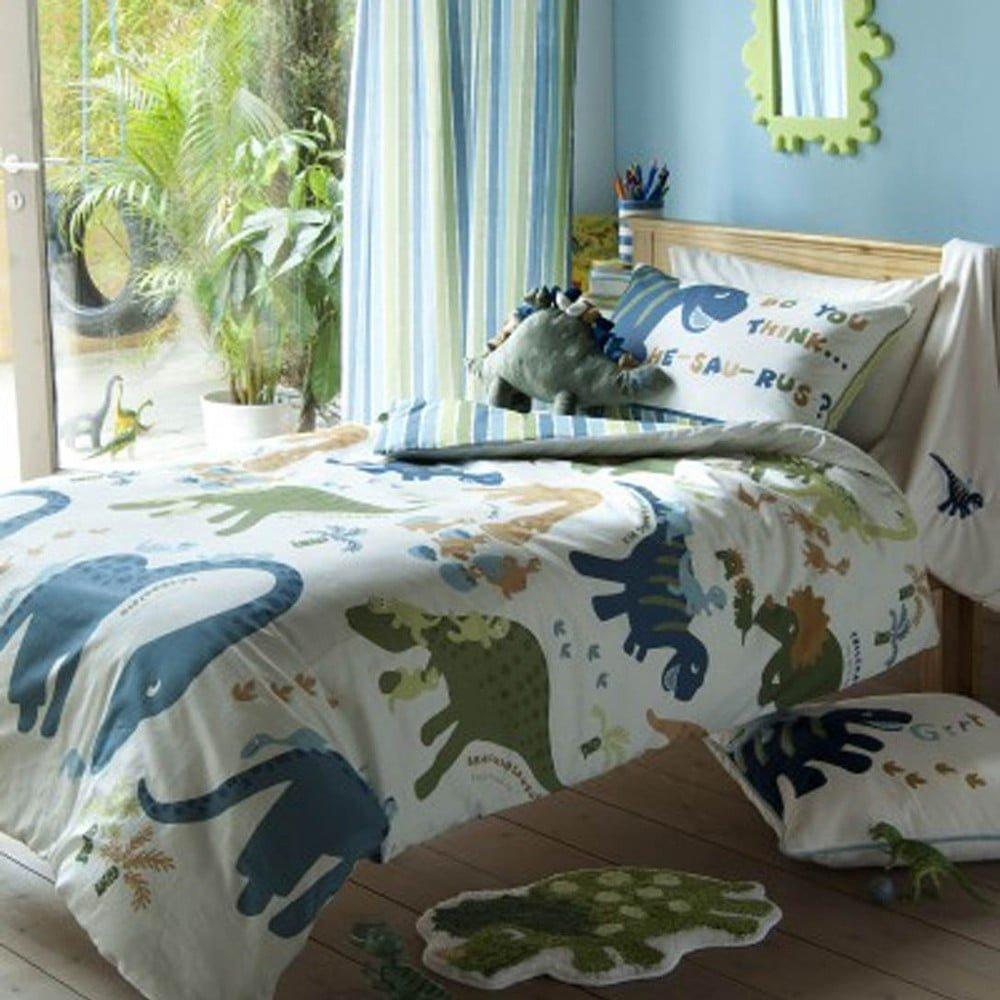 Lenjerie de pat pentru copii Catherine Lansfield Dino, 135 x 200 cm, imprimeu dinouzauri verde/albastru