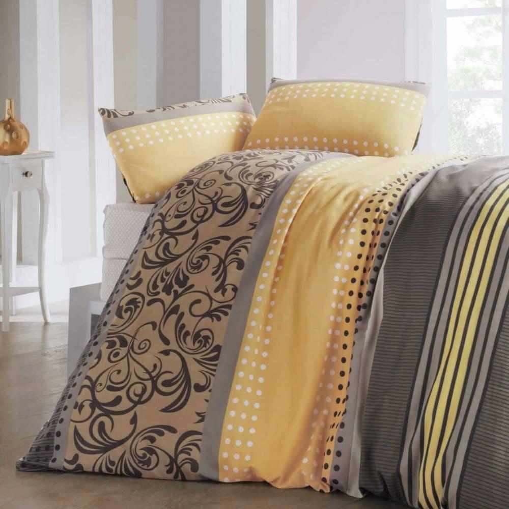 Lenjerie de pat și cearșaf Miranda Honey, 200 x 220 cm, galben/gri
