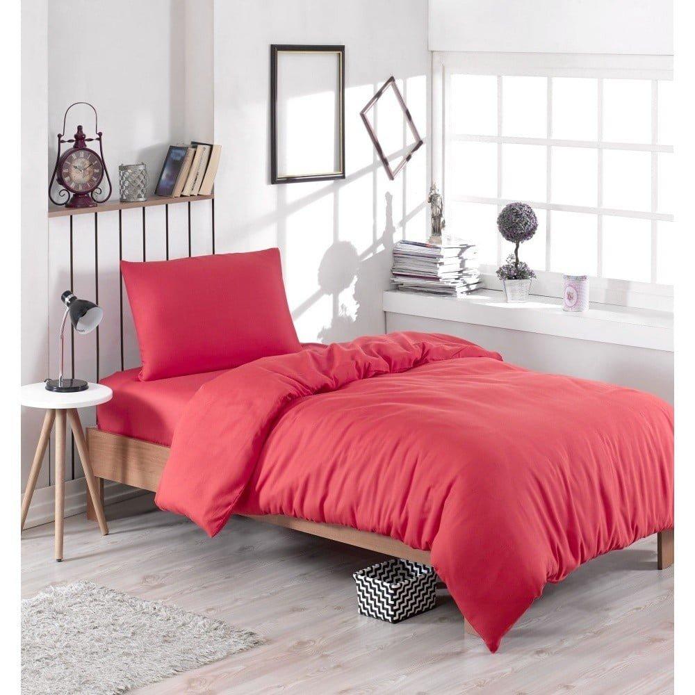 Lenjerie de pat și cearșaf Paint Red, 140 x 200 cm