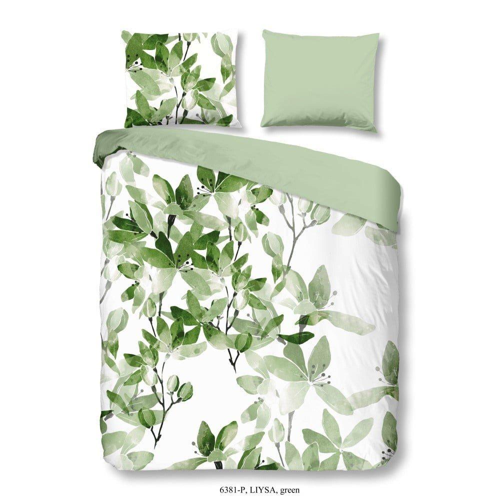 Lenjerie din bumbac Good Morning Liysa, 200 x 200 cm, alv/verde, imprimeu cu frunze