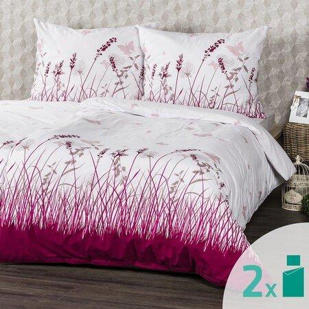 Lenjerie pat  4Home Pajiște cu fluturi 2 x 140 x 200 cm, 70 x 90 cm, alb-roz