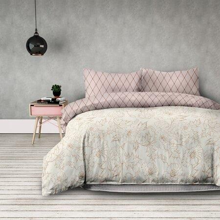 Lenjerie pat single AmeliaHome Artnouveau, din flanelă, 140 x 200 cm, 70 x 90 cm, bej si roz pastelat