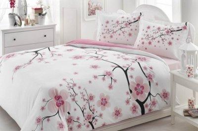 Lenjerie pat din bumbac, Ardelya, alba cu flori de cires