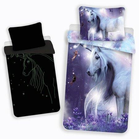 Lenjerie pat pentru copii Unicorn glow, 140 x 200 cm, 70 x 90 cm, imprimeu luminos noaptea