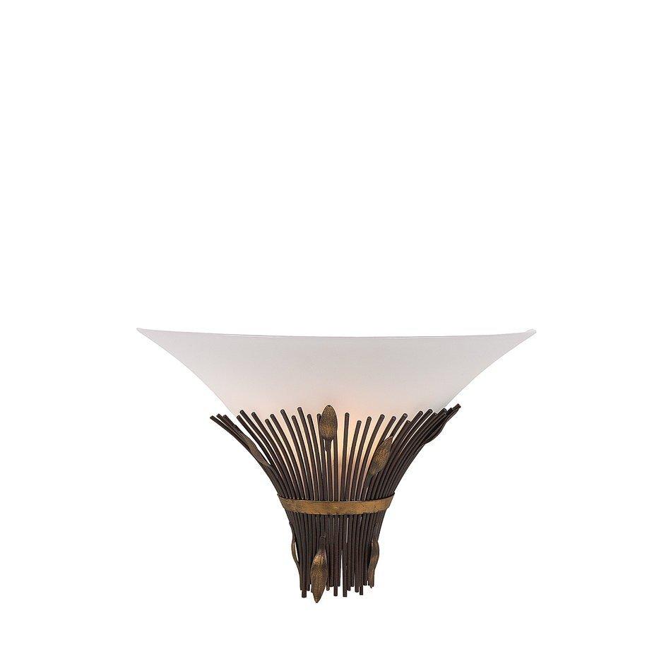 Lucide CANNA, aplica de perete cu suport maro si masca din sticla mata alba