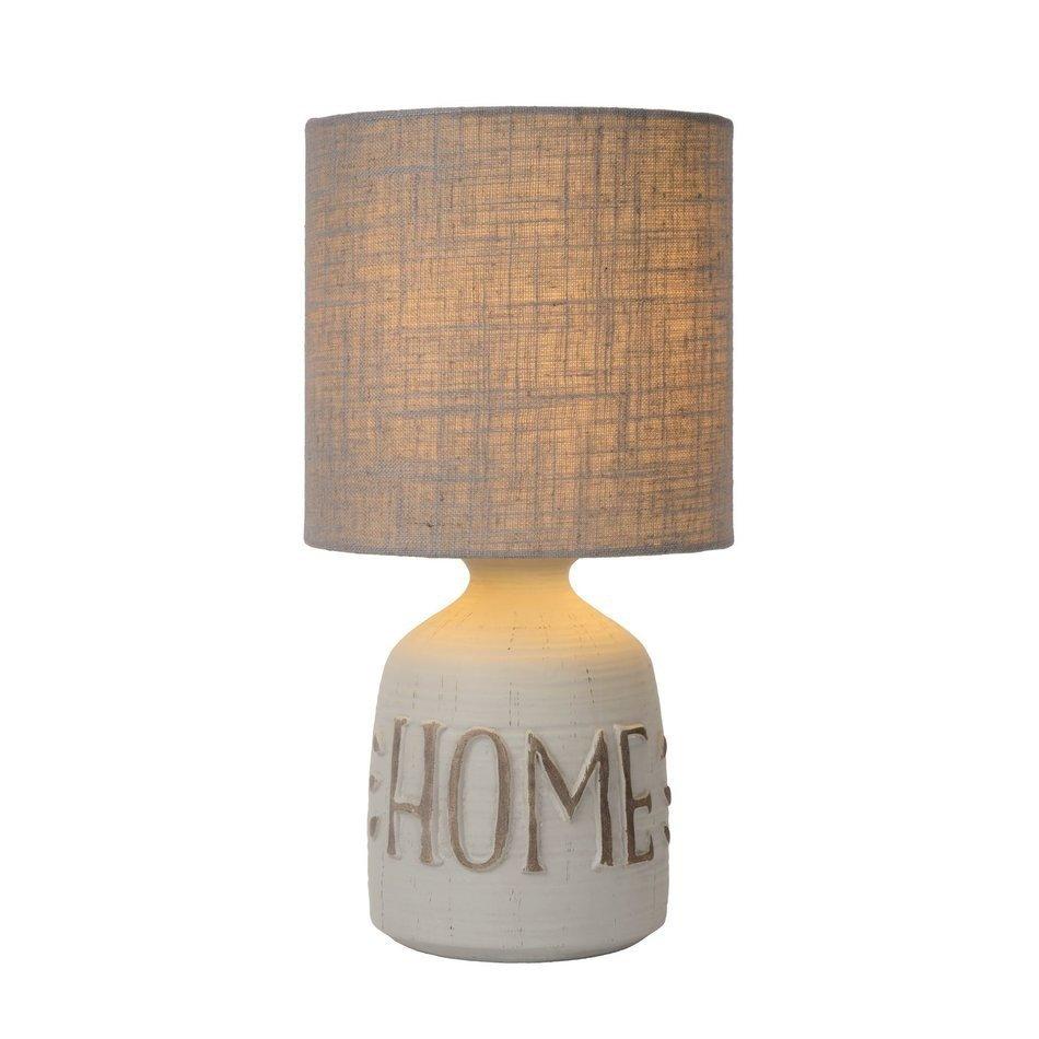 Lucide Cosby lampa de masa de noapte alb gri, ceramica cu abajur textil