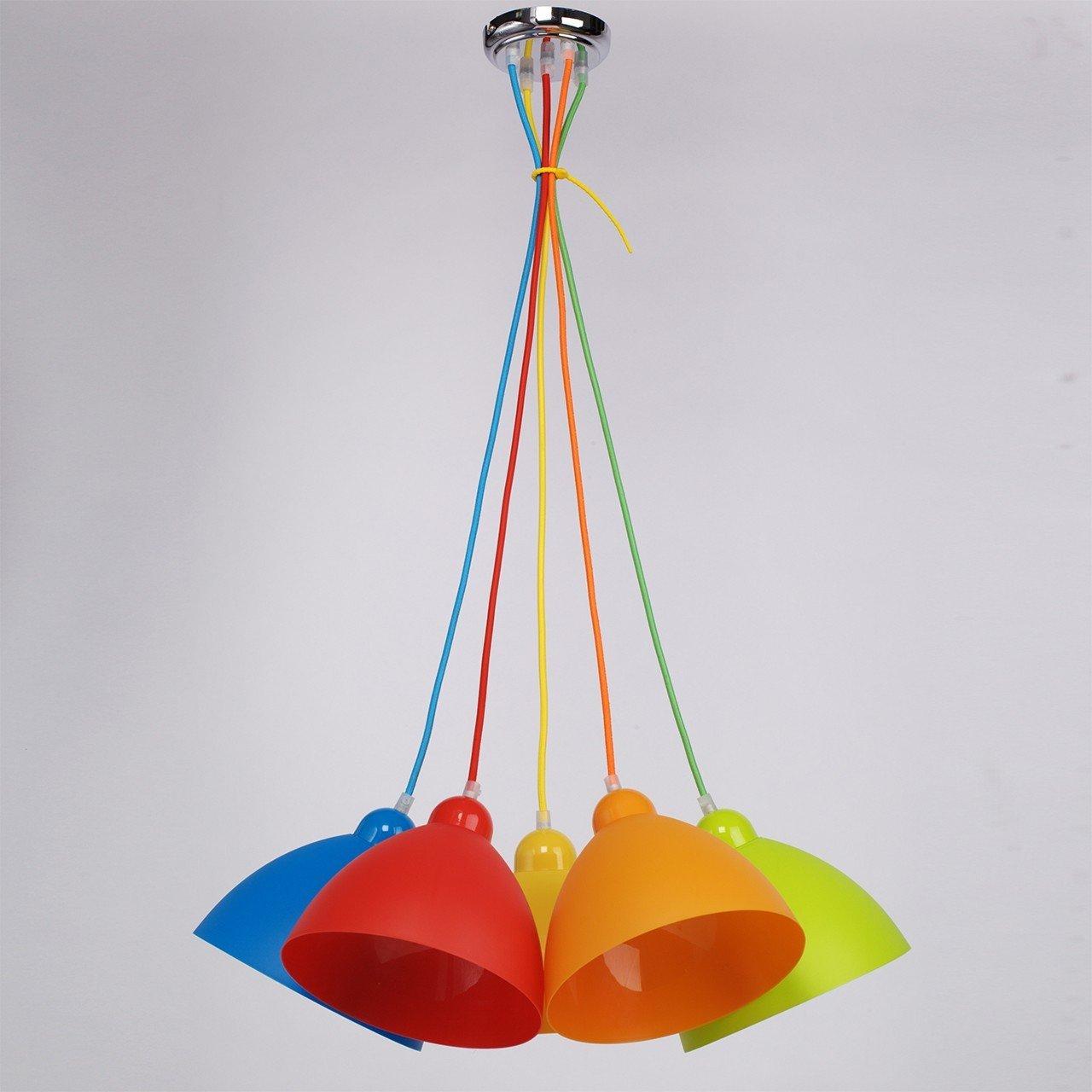 Lustra Kinder Multicolor, abajururi colorate, suspendate