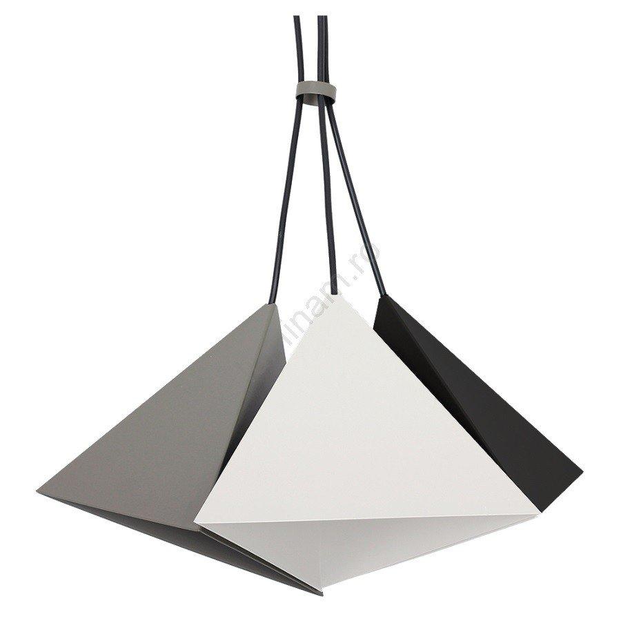 Lustră pe cablu SET 3, design modern, abajururi metalice alb-negru-gri