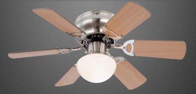 Lustra ventilator cu finisaj din aluminiu satinat si palete din lemn MDF