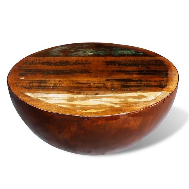 Măsuță cafea, formă de bol, bază din oțel, lemn masiv reciclat, stil antichizat