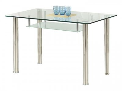 Masa cu blat din sticla si picioare din metal Olivier Transparent / Chrome, L119xl69xH75 cm