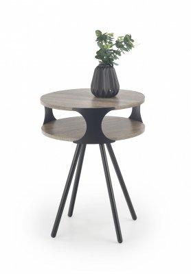 Masa de cafea din MDF si metal Kirby, rotunda, 45xh60 cm, Negru / Stejar Sonoma